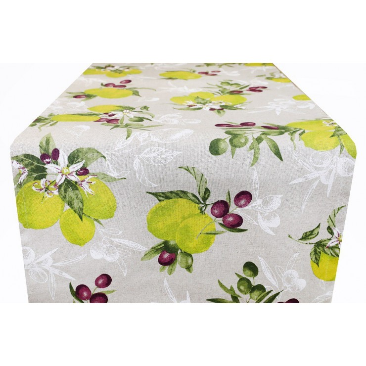 Behúň na stôl citróny s olivami 50x150 cm Made in Italy