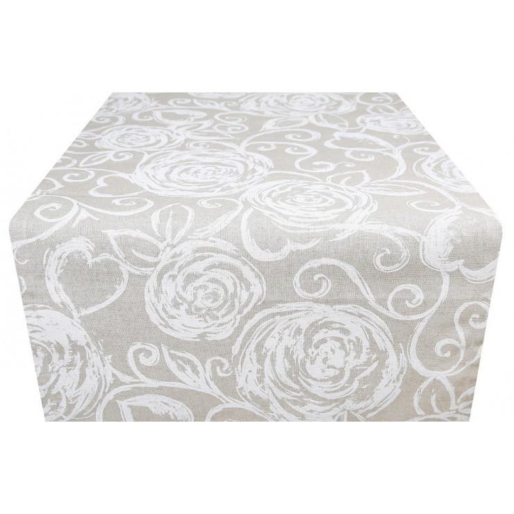 Behúň na stôl biele pivonky MIG303 Made in Italy