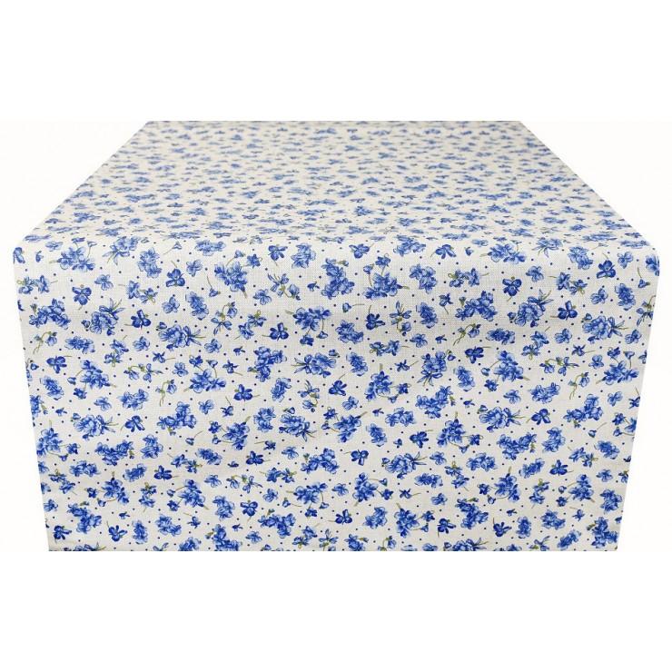 Runner blue flowers Made in Italy
