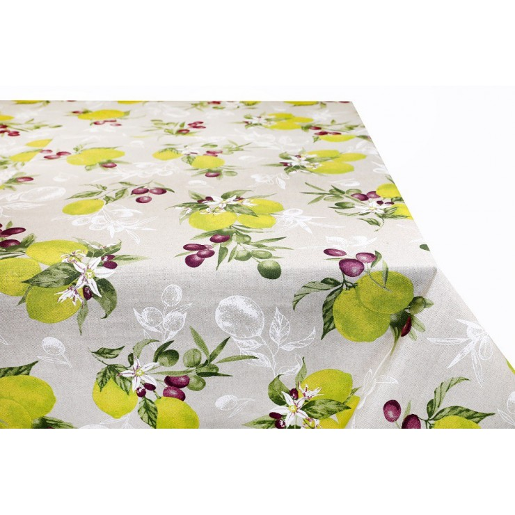 Tablecloth lemon and olives Made in Italy