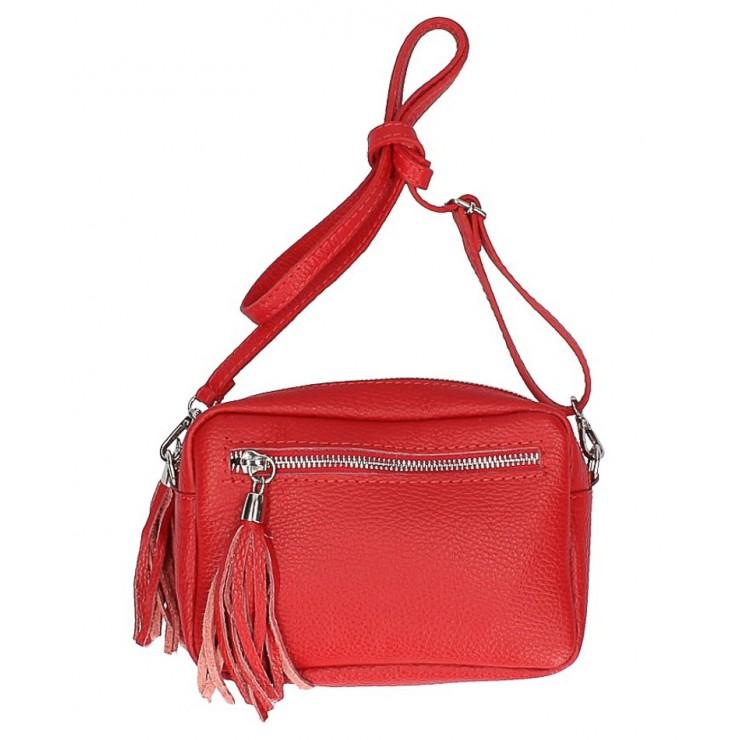 Dámska kožená kabelka na rameno 5338 červená