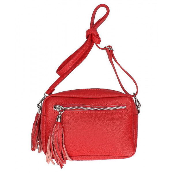 Dámska kožená kabelka na rameno 760 červená Červená