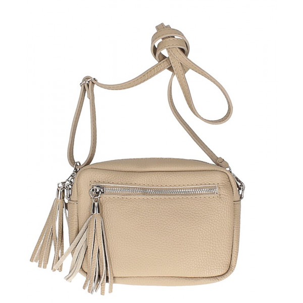 Dámska kožená kabelka na rameno 760 šedohnedá Šedohnedá