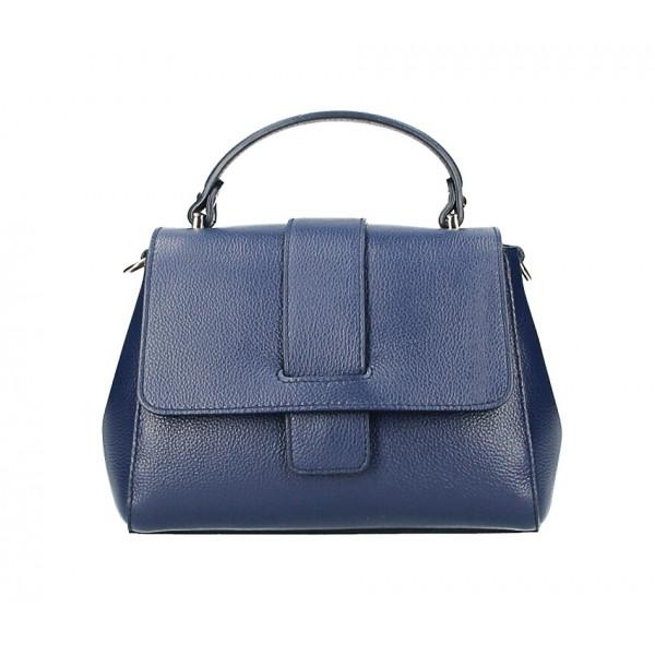 Kožená kabelka MI249 modrá Made in Italy Modrá