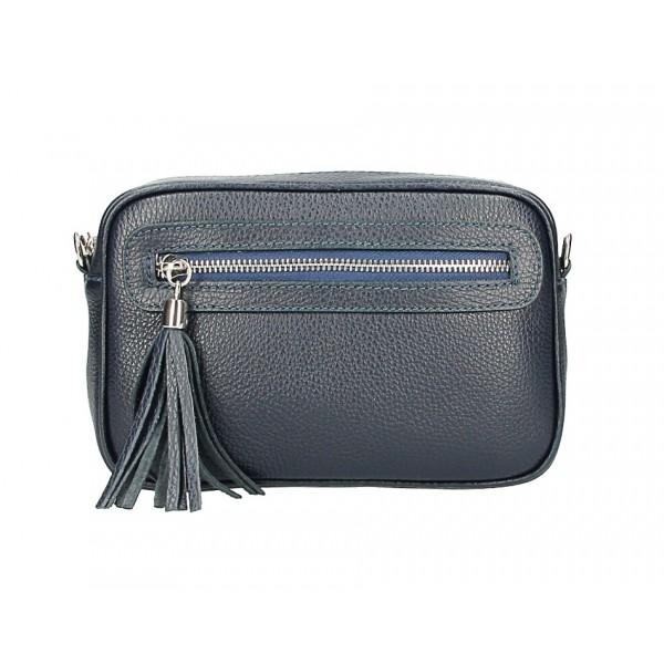 Dámska kožená kabelka 1220 tmavomodrá Made in Italy Modrá