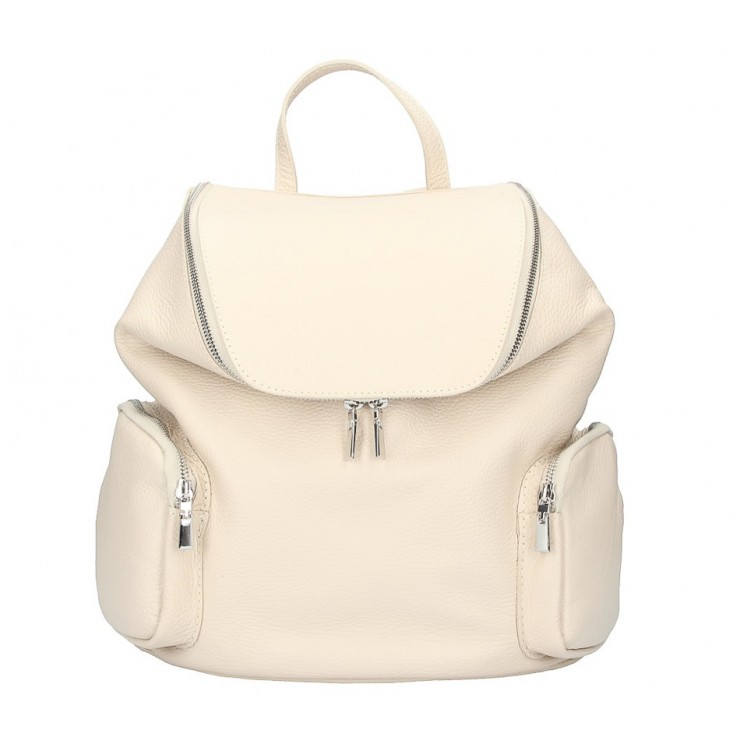 Leather backpack 5339 beige