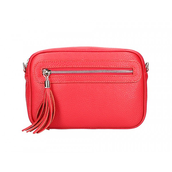 Dámska kožená kabelka 1220 červená Made in Italy Červená