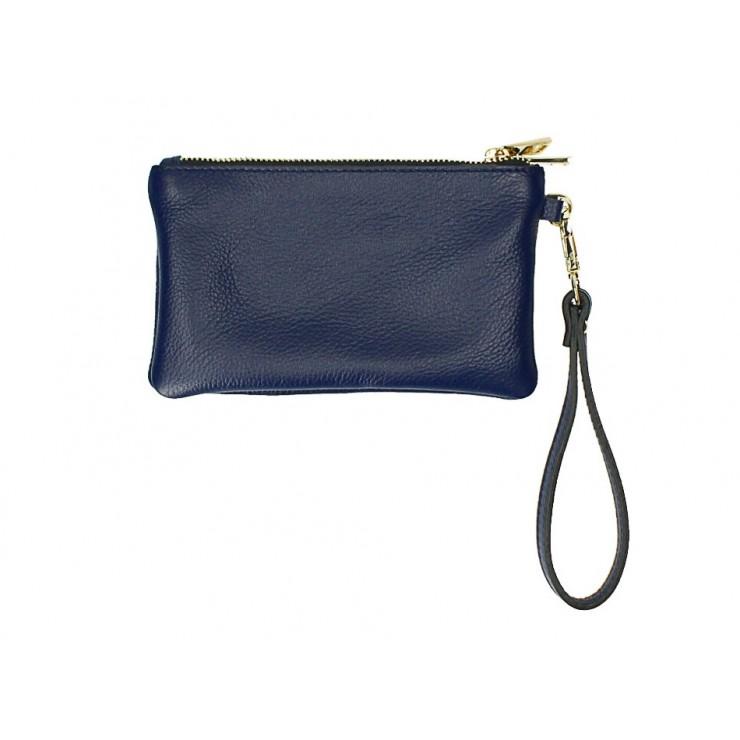 Kožená listová kabelka 1229 modrá Made in Italy