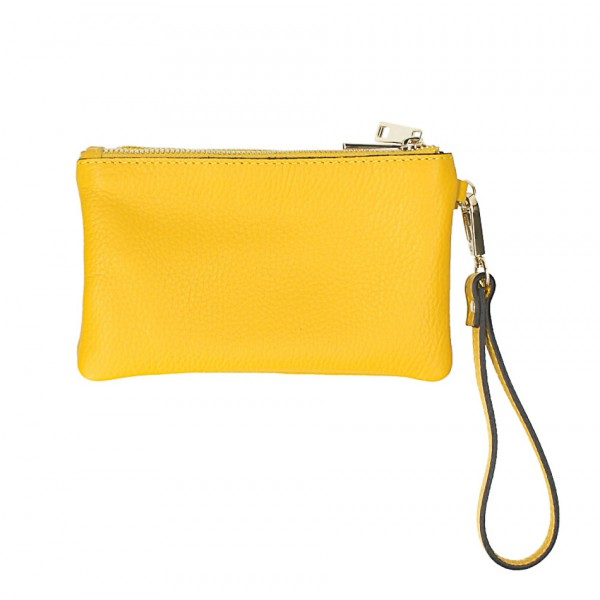 Kožená listová kabelka 1229 žltá Made in Italy Žltá