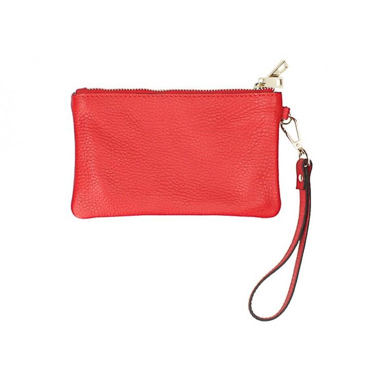 Kožená listová kabelka 1229 červená Made in Italy