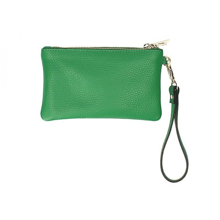 Kožená listová kabelka 1229 zelená Made in Italy
