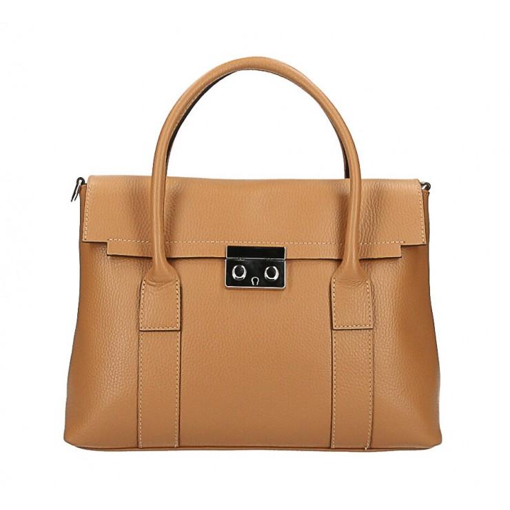 Genuine Leather Handbag 604 cognac Made in Italy