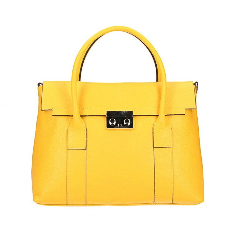 Genuine Leather Handbag 604 yellow Made in Italy