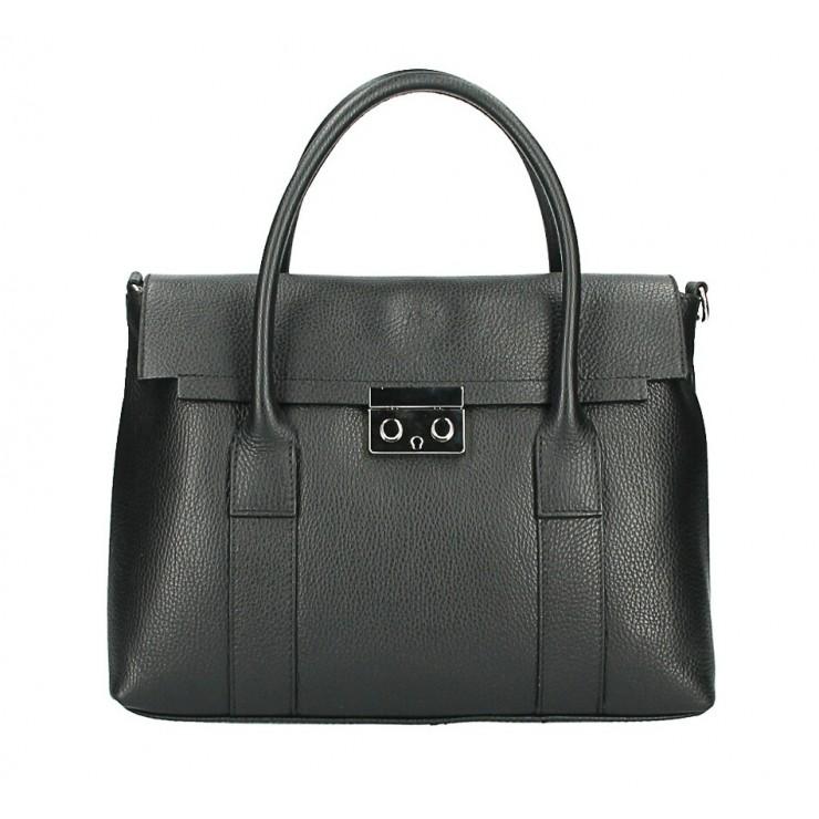 Kožená kabelka 604 čierna Made in Italy