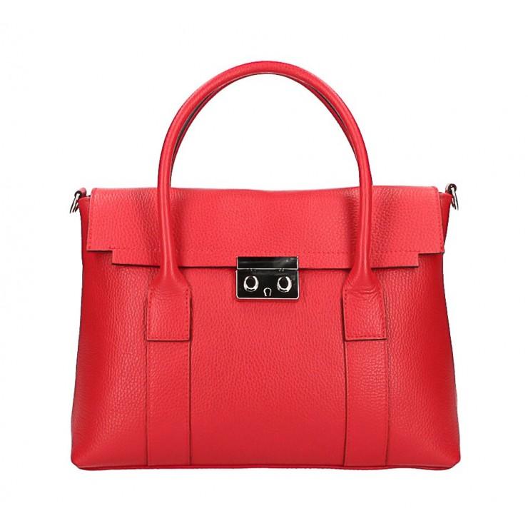 Kožená kabelka 604 rudá Made in Italy