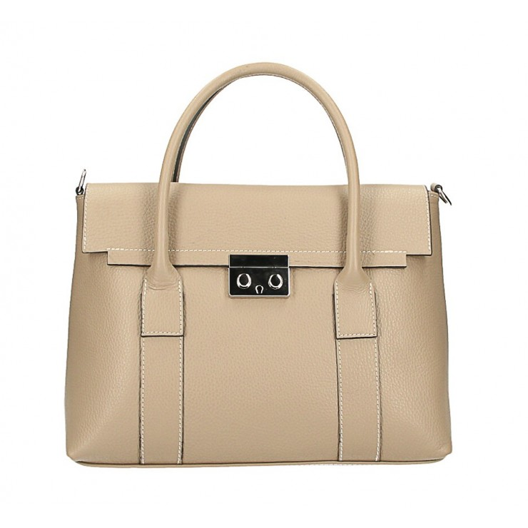 Genuine Leather Handbag 604 taupe Made in Italy