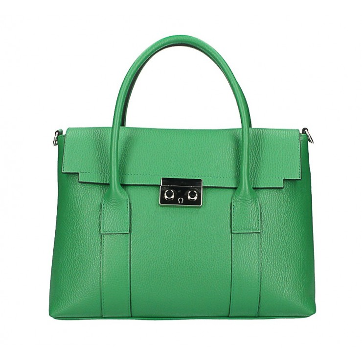 Genuine Leather Handbag 604 green Made in Italy