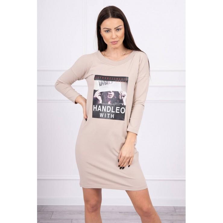 Šaty s potlačí Handle With béžové