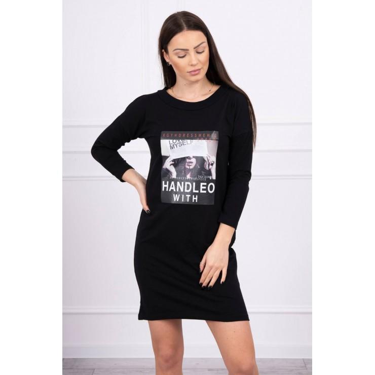 Šaty s potlačí Handle With černé
