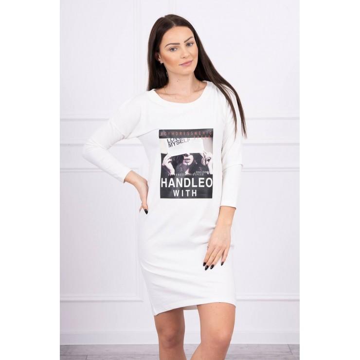 Šaty s potlačí Handle With bílé