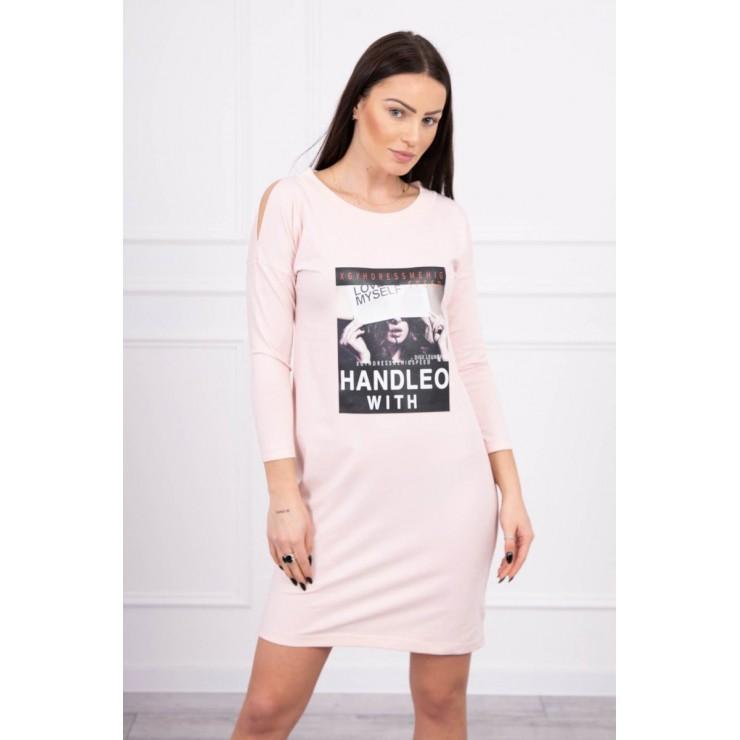 Abito da donna con stampa Handle With rosa cipria