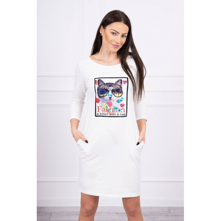 Ladies Dress with Cat Graphics 3D cream