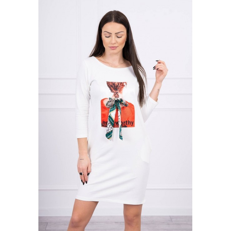 Ladies Dress with Graphics Noteworthy 3D cream