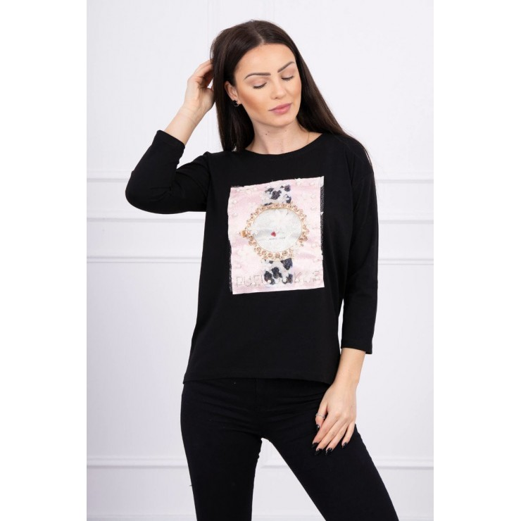 Ladies blouse with graphics 3D with pearls black