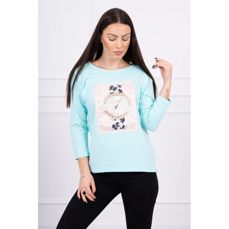 Ladies blouse with graphics 3D with pearls mint