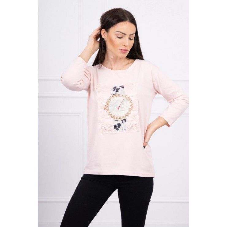 Ladies blouse with graphics 3D with pearls powder pink