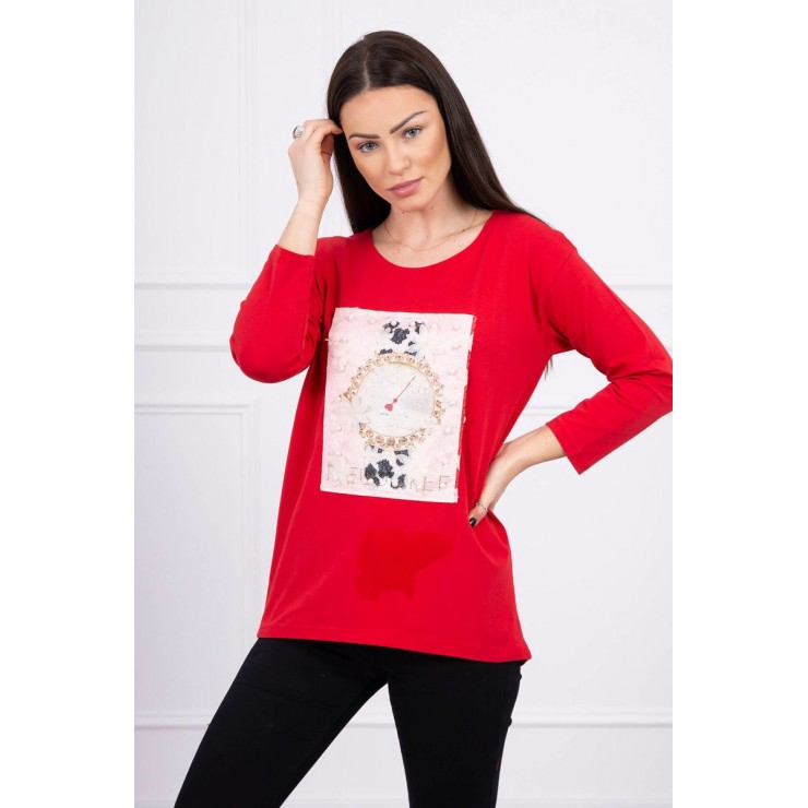 Ladies blouse with graphics 3D with pearls red