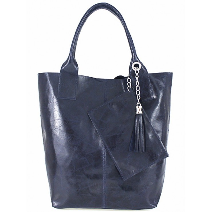 Leather Maxi Bag 148 blue Made in Italy