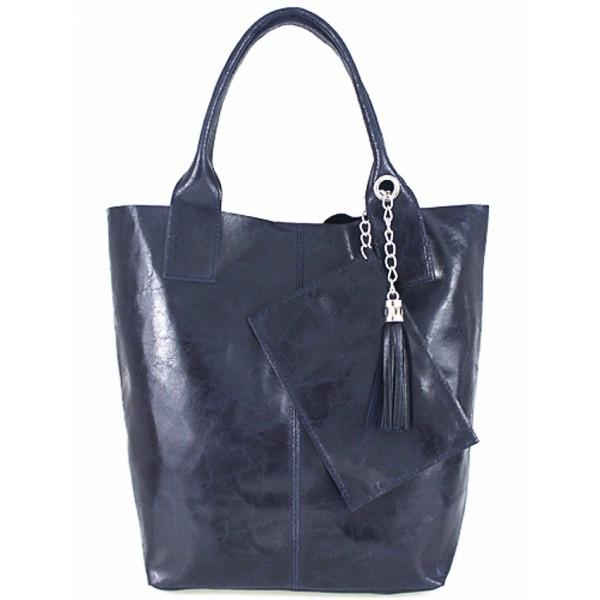 Kožená kabelka 148 modrá Made in Italy Modrá
