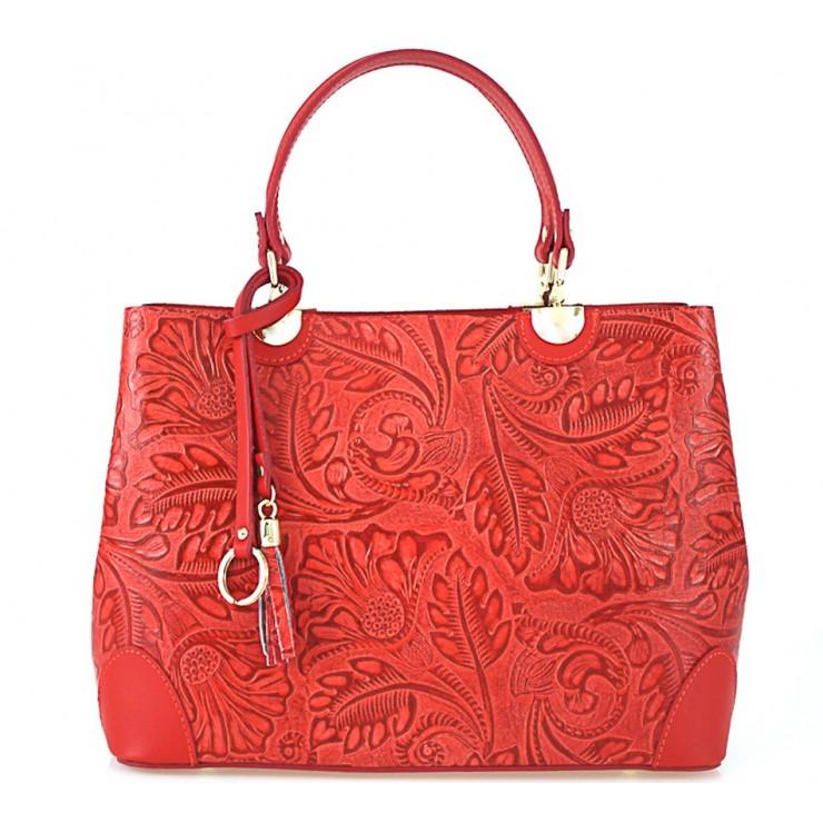 Genuine Leather Handbag 502 red