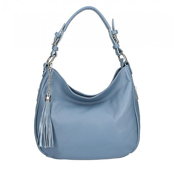 Kožená kabelka na rameno 210 blankytná modrá Made in Italy Blankytna modrá