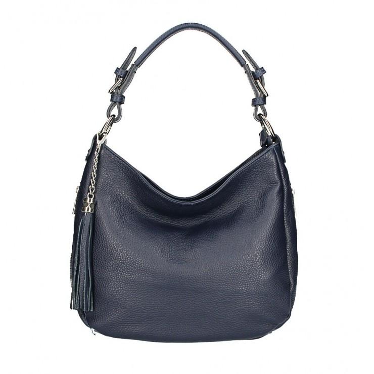 Kožená kabelka na rameno 210 tmavomodrá Made in Italy