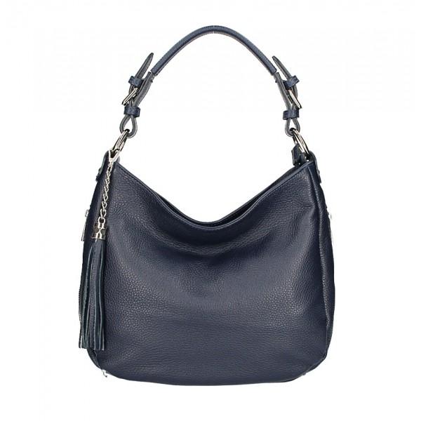 Kožená kabelka na rameno 210 tmavomodrá Made in Italy Modrá