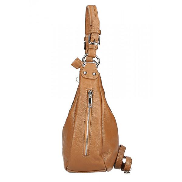 Kožená kabelka na rameno 210 červená Made in Italy Červená