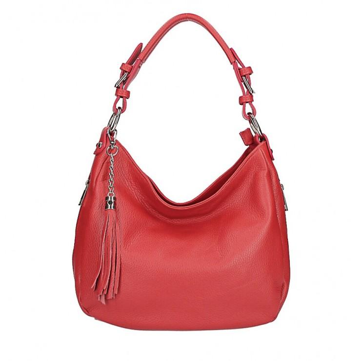 Kožená kabelka na rameno 210 červená Made in Italy