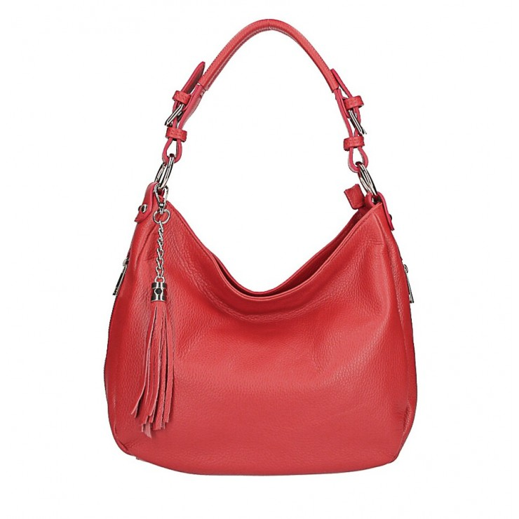 Leather shoulder bag 210 red Made in Italy
