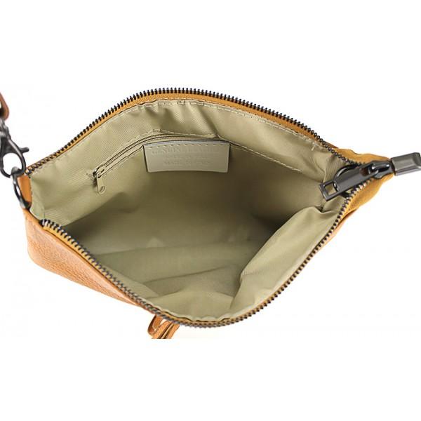 Kožená kabelka 1492 vojenska zelená Made in Italy Zelená