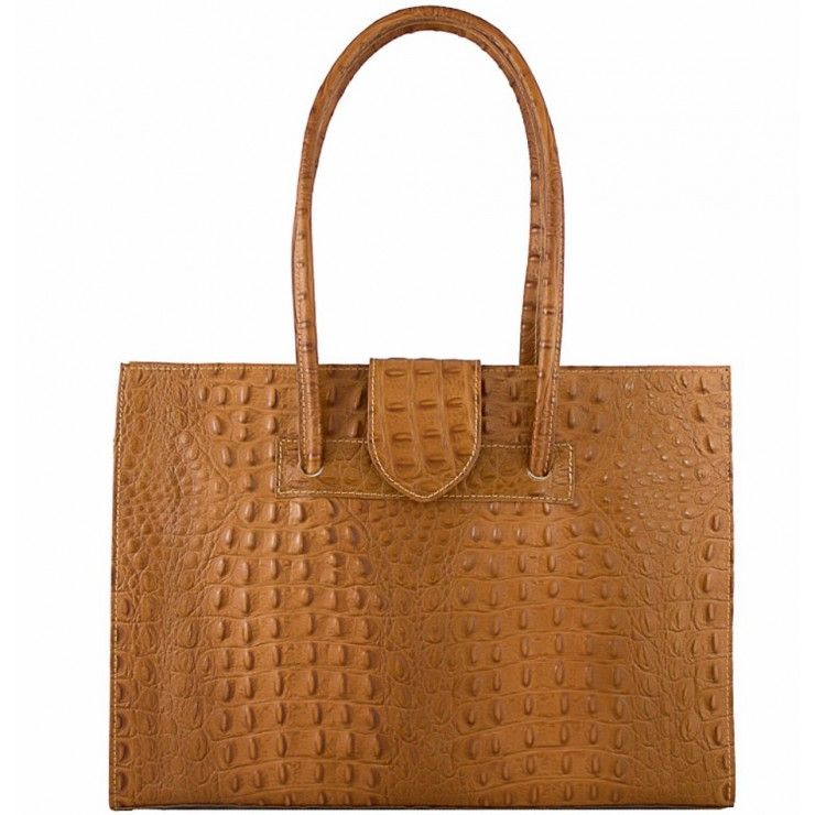 Woman Leather Handbag 511 cognac Made in Italy