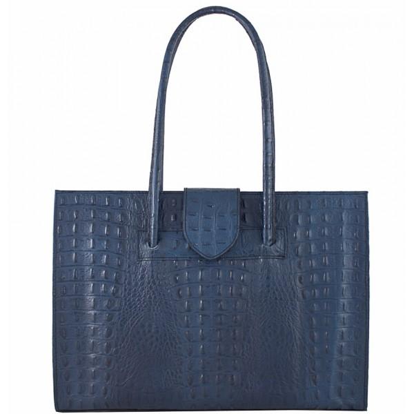 Kožená kabelka 511 modrá Made in Italy Modrá