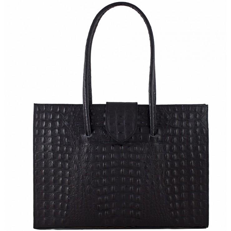 Kožená kabelka 511 čierna Made in Italy