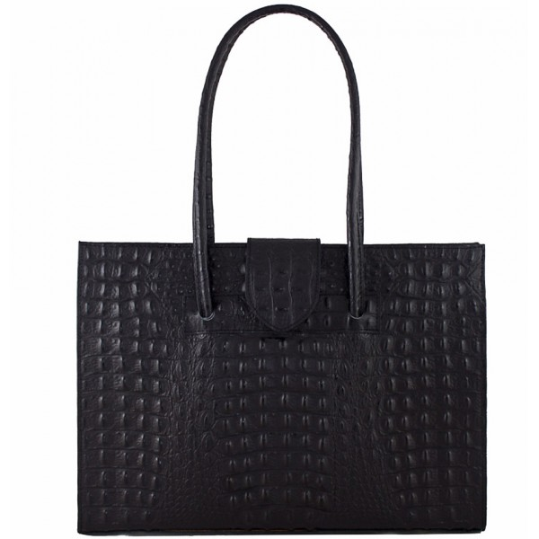 Kožená kabelka 511 čierna Made in Italy Čierna
