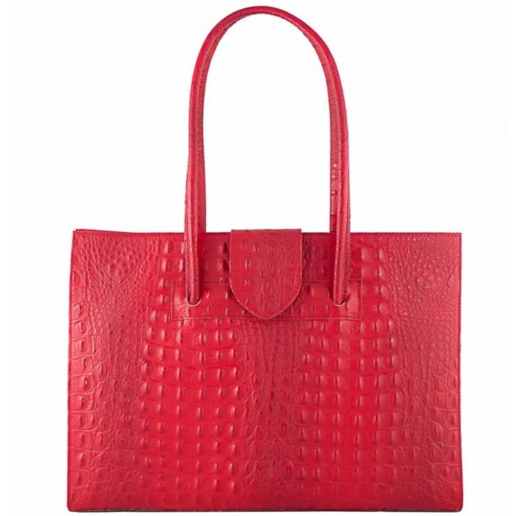 Kožená kabelka 511 červená Made in Italy