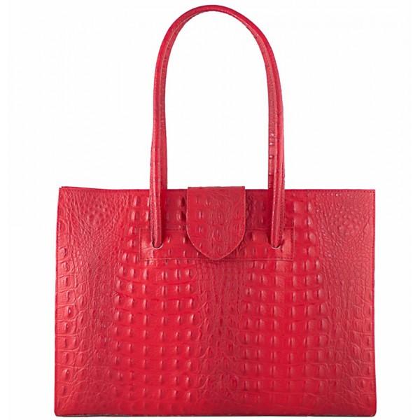 Kožená kabelka 511 červená Made in Italy Červená