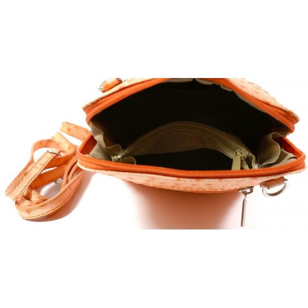Kožená kabelka na rameno 603 oranžová Made in Italy Oranžová