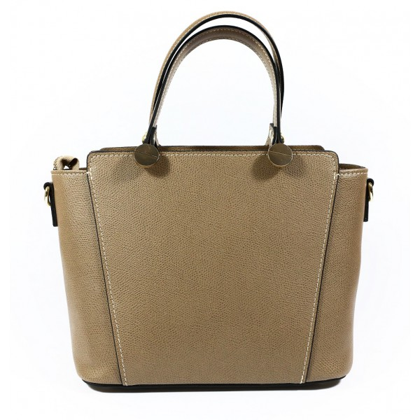 Genuine Leather Handbag 1461 dark taupe