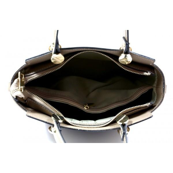 Kožená kabelka 1461 tmavá šedohnedá Made in Italy Šedohnedá